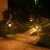 Solar Power Metal LED Ornament Landscape Light Outdoor Fiamma Effetto prato Garden Decor
