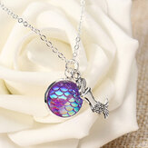 Trendy Time Gemstone Colorful Mermaid Scale Resin Pingente Delicate Silver Necklaces for Girl Mulheres