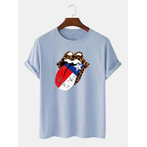 100% coton Cheetah America Independence Day Print T-shirts à manches courtes