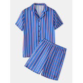 Banggood Designed Mens Colorful Stripe Print Button Up Faux Revere Collar Short Sleeve Home Shirts