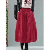 Женская вельветовая пуговица с эластичной резинкой на талии Твердая юбка в стиле ретро с карманом