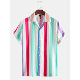 Mens New Fashion Color Striped Short Sleeved Shirts