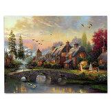 Светодиодные светящиеся холст картины деревенский мечтательный пейзаж пейзаж стены декоративная печать искусство картина безрамное укр