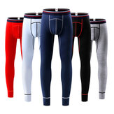 Mens Elastic Thin Mid Rise Sottile Cotone Casual U Convesso Long Johns Sleepwear Pigiama Bottoms