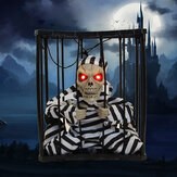 Halloween Hanging Jail Cage Prisoner Ghost Skeleton Glow Eyes Ghost Sounds Decoration