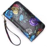 Brenice Women Cowhide Emossed Floral Clutch Bag Zipper Walle