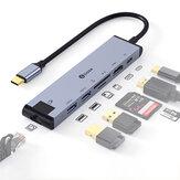 Biaze R48 7 em 1 Type-C Docking Station USB3.0 Hub USB-C para HDMI compatível com Conversor 4K TF / SD Card Reader Adaptador Ethernet 100M de carregamento rápido para Macbook Pro