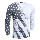 Personalidade Star Stripe impressa T-shirt Men's Casual Round Neck Slim Fit manga comprida T-shirts