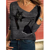 T-shirt manica lunga casual con scollo a V a righe da donna Cartoon Cat