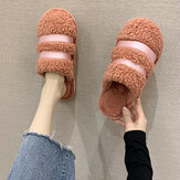 Women Warmed Lined Non Slip Home Plush Cotton Slippers