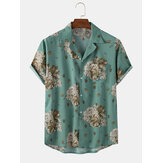 Original              Casual Vintage Floral Print Revere Collar Short Sleeve Mens Shirts