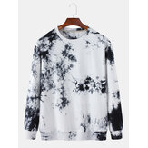 Mens 100% Cotton Ink Tie-Dye Print Crew Neck Loose Fit Sweatshirt