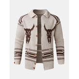 Mens Vintage Pattern Single-Breasted Warm Knitted Sweater Cardigans