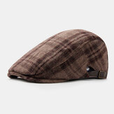 Men Felt British Style Retro Painter Lattice Stripe Pattern Casual Fashion Keep Warm Forward Hat Beret Hat