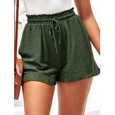 女性の夏の弾性ウエストフリルカジュアルな野生のショートパンツ