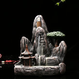 Ceramic Backflow Incense Cone Burner Incense Stick Holder Rockery Mountain Tower Cloud Water Stream Fragrant Censer Decor