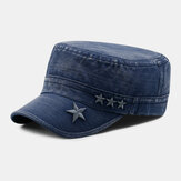 Men Made-old Denim Stars Embroidery Pattern Breathable Sunvisor Military Hat Flat Hat Peaked Cap