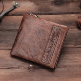 Men Genuine Leather RFID Blocking Vintage Wallet Zipper Bag