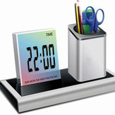 Loskii DX-222 Colorful Nero Digitale LED Desk Alarm Clock Pensola della penna della rete Mensola del calendario Termometro