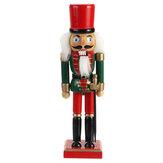 Christmas Nutcracker Soldier Doll  Wooden Puppet Vintage Desktop Ornaments 25cm Festival Decoration