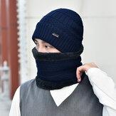 पुरुष ऊन Plus मखमली मोटी सर्दियों में गर्म गर्दन की सुरक्षा विंडप्रूफ बुना हुआ टोपी रखें