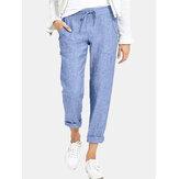 Pantalon de pantalon décontracté de couleur unie à taille élastique avec poches latérales