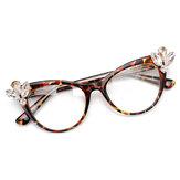 Cat Eye Frame Computer Optical Glasses with Rhinestone
