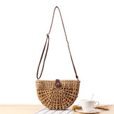 Women Straw Beach Bag Hollow Crossbody Bag