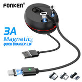 FONKEN Telescopic Magnetic 3 in 1 USB Type C Micro USB Data Cable for Samsung Galaxy S20 Ultra Huawei P40 OnePlus 8 ASUS ZenFone Max Pro (M1) ZB602KL