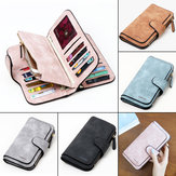 Women Matte PU Leather Large Capacity Long Wallet for iPhone Mobile Phone Under 4.7 Inch