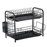2/3 niveaux porte-égouttoir en métal support de séchage panier bol plat égouttoir étagère sèche-plateau support évier de cuisine organisateur maison