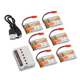 6Pcs ZOP POWER 3.7V 750mAH 30C 1S Lipo Battery JST Plug With Charger For RC Model