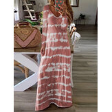 Tie Dye Stripe Print Manga comprida Casual Loose Maxi Dress