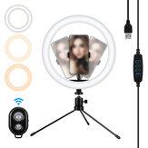 MOHOO 10 pouces 3 modes de couleur 10 niveaux de luminosité Lampe vidéo USB avec trépied à tête de rotation à 360 degrés pour Tik Tok Youtube Streaming en direct