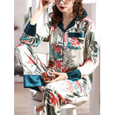 Women Plant Leaves Print Revere Collar Long Sleeve Faux Silk Two Piece Home Pajamas Set