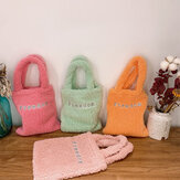 Women Lamb Wool Letter Pattern Solid Color Soft Small Handbag