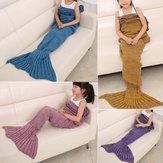70x140 centímetros de fios criança sereia malha cauda cobertor handmade crochet jogar tapete de cama sofá super macio