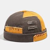 Herren Baumwolle Farbe Matching Plaid Krempe Hüte Schädelkappen