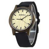 BEWELL ZS-W134A Wooden Watch Casual Style Kanvas Band Kuarsa Wrist Watch