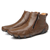 Men Slip Resistance Side Zipper Leather Ankle Boots