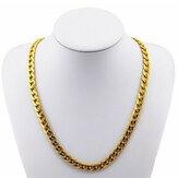 18 كيلو الذهب مطلي 10 ملليمتر الرجال سلسلة 24 بوصة قلادة المجوهرات