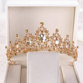 Emas Kristal Tiara Crown Wedding Bridal Headwear Ulang Tahun Prom