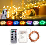 Bateria Powered 10M 100LEDs Waterproof Copper Fio Fairy String Light para Natal + Controle Remoto