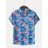Hombres Mujer Fashion Space Graffiti Cloud Print Hawaii Turn Down Collar Shirts
