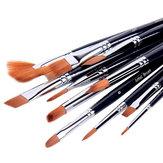 Bianyo 12 Cái Hình dạng khác nhau Nylon Tóc Màu nước Sơn Bàn chải Set Sinh viên Vẽ Nghệ thuật Đồ dùng