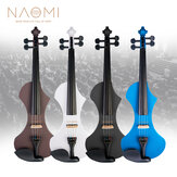 NAOMI 4/4 Electric Violin Solid wood Silent Active Pickup 6 Colored Guitar Head Violin Case Bow