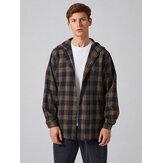 Camisa de manga larga con capucha y botones a cuadros para hombre vendimia