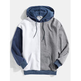 Heren Patchwork Kangaroo Pocket Drop Shoulder Design Hoodies