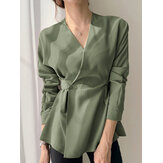 Solid Color V-neck Long Sleeve Knotted Casual Urban Style Button Blouse For Women