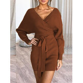 V-neck Warna Solid Wanita Lengan Panjang Mini Dress Backless